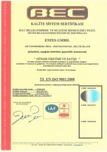 Enfes-ISO  9001:2008 Zertifikat - türkisch