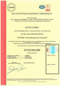Enfes-ISO  9001:2008 Zertifikat - deutsch