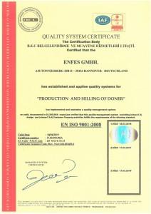 Enfes-ISO  9001:2008 Zertifikat - englisch